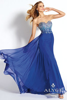 Free Shipping Fashion A Line Strapless Chiffon Long Evening Gowns with Beads and Crystals/Prom Dress/Party Dress