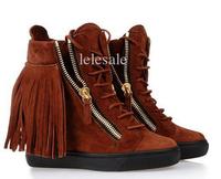 Newest women wedges pumps high heels suede fringed zip causal shoes giuseppe zanotty gz designer heel 7cm Genuine Leather 35-41