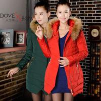 Raccoon fur collar Hooded down Coat new 2014 outerwear women down coat Women Winter Coat Long Jacket casacos femininos 3 colors