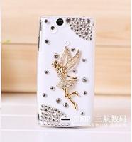 New 3D Angel Handmade bling Crystal diamond back cover Hard case For Sony Ericsson Xperia Arc S X12 LT18I LT15I Free shipping