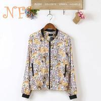 2014 deer print jacket Fashion Stand Collar Long Sleeve Zipper Floral Print Women Streetwear Jacket Coat OuterwearM,L,XL