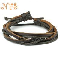 Free Shipping, (20pcs/lot) 2014  Genuine Cow Leather Wrap Bracelet with Hemp Rope Adjustable Size