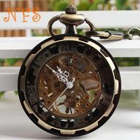 Dual through hollow bronze mechanical pocket watch, retro wheel mechanical pocket watch personality characteristics