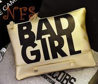 New 2014 Fashionable European Style Alphabetical BAD GIRL Day Clutch Shoulder Bag Small Bag Chain Bag Handbag