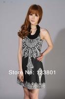 Hot Sale 2014 Fashion NEW wo Bohemia print dress sleeveless off the shoulder beach dress  Free shipping 88212