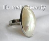 stunning big 33X20mm white mabe pearls ring 9K