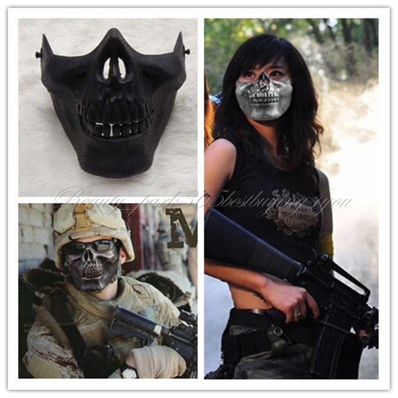Free Shipping Halloween party Masquerade Mask terror US Fans Face Skeleton Warrior Skull CS Black HG-0031 Hot(China (Mainland))