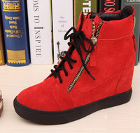 Newest women wedges pumps high heels ankle boots giuseppe zanotty gz brand designer high-cut shoes zip red genuine leathe 35-41