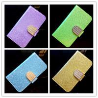 New Bling Diamond Glitter Holster Card Slots PU Flip Leather Cover Back Case For LG Optimus L4 II E440 E445 Case