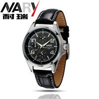 20pcs a lot  Brand New Mens three decoration dial Leather Band Japan Quartz Movement Business Mens Wrist Watch Nice Gift 6050pu