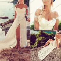 Sexy Off The Shoulder Lace Chiffon High Slit Sweep Train Beach Wedding Dresses Bridal Gowns 2014 New Arrival Vestido De Novias