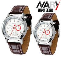 20pcs a lot  Women Men three decoration dial Leather  Band Japan Quartz Movement Wrist Watch Couple Watch Nice Gift 6064pu