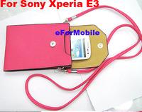 Leather Pouch Mobile Phone Case Wallet Case Lady Hand Case+ Shoulder Belt For Sony Xperia E3 Dual D2212 D2203 D2206
