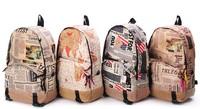 Free Shipping Korea Unisex New Design Newspaper Print Canvas Bag Girls& Boys Backpack School Bag