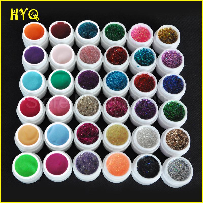 Free shipping 36 Pcs Mix Color Pure Glitter Hexagon Sheet UV Builder Gel for Nail Art Tip Set(China (Mainland))