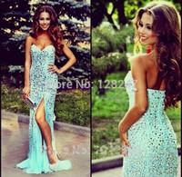 Sexy Backless Long Mermaid Prom Dresses 2015 New Arrival Mint Gold Crystal Modest Vestidos de Fiesta Robe de Soiree Abendkleider