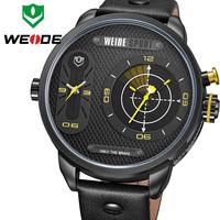 WEIDE Japan Quartz Watch Men Luxury Brand Leather Strap Stainless Steel Buckle Waterproofed New Design relogio masculino sporte