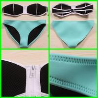 2014 Hollow Out Neoprene Triangl bikini Swimwear Bandeau neoprene swimsuit bikinis set White Top Blue Bottom