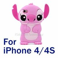 Hot Sale 1pcs Blue&Pink Anti-knock Cartoon Stich Design Case 3D Cute Silicone Rubber Soft Cover For iPhone 4s 4
