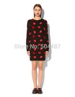 Vintage Style Red Lips Printed Full Sleeve Knitting Straight Dress Free Shipping 2014 Autumn New S,M,L,XL,XXL,XXXL,XXXXL 21276