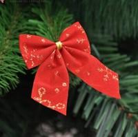 Hot Sale 2014 Christmas decoration supplies 5.5cm flocking gilding Christmas decorative bow christmas tree decoration