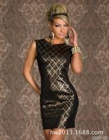 2014 sexy club drress bronzing printing round neck halter dress  club wear   sexy underwear