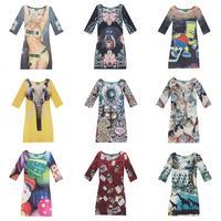 2014 NEW ARRIVALS Fashion  animal prints Flowers women clothing stars Harajuku style 3D print dress lady dress three personality