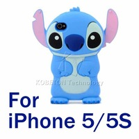1pcs Anti-knock 3D Stitch Hard Housing Case Fashion Cartoon Carton Stich Silicone Dirt-Resistant Cover For iPhone 5S 5