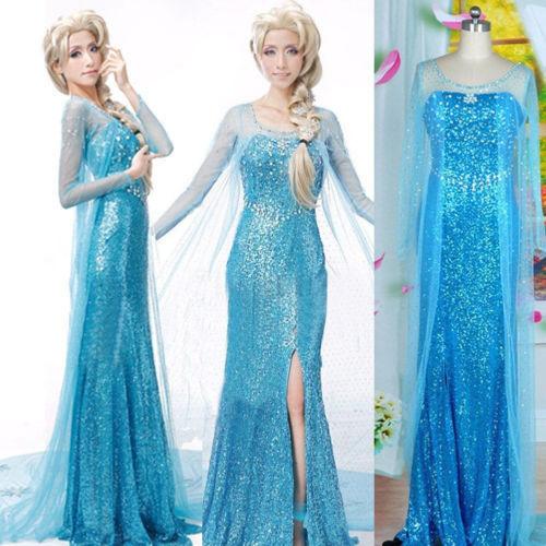 Elegant Elsa Ice Queen Women Dress Skirt Cosplay Costume Fancy Dresses