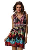 1pcs/lot v-neck Ladies Sexy bohemian style Sleeveless Stretch Floral Beach Short Dress Purple/red M XXL