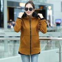 2014 Winter Korean Plus Size Pockets Cotton Women Hoodies Autumn Patchwork Long Sleeve Active Sweatshirts 4829