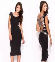 2014 summer sexy knee-length dress Bandage Dress Celebrity backless bodycon dresses pencil dress Colors   Blue, Khaki, Silver