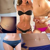 New Chic Women Bikini Belly Chain Blue Cross Beads Infinity Symbol Love Belly Body Chain Fashion Brand Body Jewelry