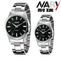 20pcs a lot  Business Women Men Black/White Dial Stainless Band Japan Quartz Movement Wrist Watch Couple Watch Nice Gift 6090