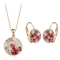 18K Gold Plated Jewelry Sets Pendant Necklaces & Hoop Earrings for women Genuine Austria Crystal Fashion Jewelry Set