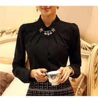 OVO!fashion 2014 new korean  OL style thicken chiffon long sleeve turn down collar shirts women render blouse size S-XXL