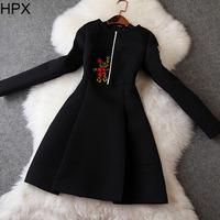 Women Retro Vintage Elegant Black/White Flower Embroidery Jacqard Long Sleeve Tight Slim Dress,Ladies 2014 Autumn Winter New