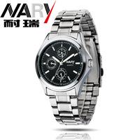 20pcs a lot  Women Men Black White Blue Dial Stainless Steel Japan Quartz Movement Wrist Watch Couple Watch Nice Gift 6104