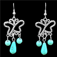 Retro Craft Vintage Look Antique Silver Plated Cute Butterfly Turquoise Dangle Earrings TE91