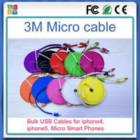 100pcs A Lot 3M Wholesale noodle flat colorful micro usb cable