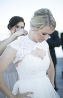 Real Bride Photos White A-Line Wedding Dresses 2014 With Detachable Shawl Sweetheart Flutter Tiers Bridal Gowns
