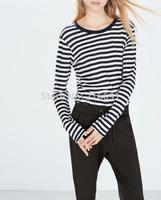 2014 new fashion Europe women elegant Striped tees Lady long sleeve casual slim T-shirt O-neck base tops#J402
