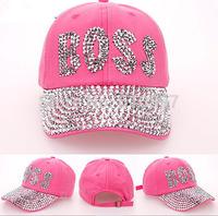 Retail  2014 new Diamond Point BOSS letters cowboy denim pink red caps women baseball cap girls Hat rhinestone print  1pcs