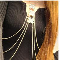 2014 new cheap fashion  Lariat Gold Color Simple Tassel Design Alloy Korean full body chain bohemian long Necklaces