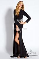 Free Shipping Fashion Sexy V Neck Backless Black Long Evening Dress Long Sleeve/Prom Dress/Party Dress
