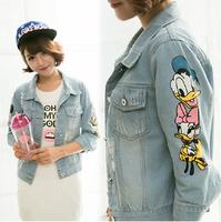2014 Autumn short denim jacket women winter Slim Cotton Duck cartoon denim outerwear jeans Coats