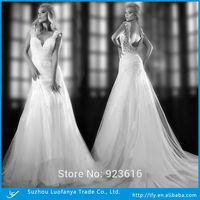 Custom made sexy v-neck backless with lace appliqued white tea length  a-line wedding dress