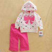 2014 brand Original Carter Baby girls clothing hooed coat Jacket+pant 2pcs in 1 children kids warm suit long sleeve retail