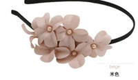 mini chiffon flower headband,pearl flower hairband,cute flower headwear