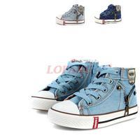 Boys Denim Shoes 2014 New Zipper Children's Sneakers For Kids Boy Denim High Brand Kid Sports Canavas Shoes 25-35